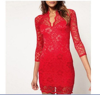 FREE SHIPPING Ladies' Hot LACE Dress BRAND Women's Sexy for Women Mini LACE SLIM V-NECK 3/4 SLEEVE DRESS Plus Size