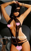 2014 New Free shipping  sexy lace costume women one piece Teddy lingeries with goggles embroidery
