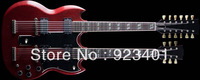 best Musical instrument guitar custom Double neck red classic guitar electric Guitar Free Shipping!