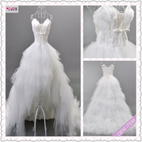 Free shipping 2013 New Arrival Sleeveless Feather Low-high Front Short And Long Back Train Bride Wedding Dress Free Shipping
