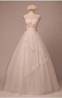 Free shipping Made to order popular A-line satin lace applique ruffle beaded sheer straps kleinfeld wedding dresses