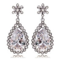 White Gold plated austrian crystal drop earrings fashion Jewelry make with swarovski element 4254