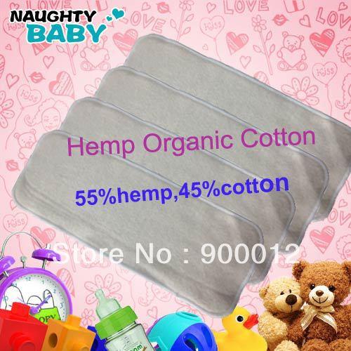 Naughty Baby Hemp Organic cotton 20pcs 3 Layers Washable Baby Cloth Diaper Nappy inserts(China (Mainland))