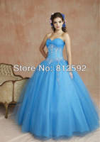 Free Shipping Sweetheart China-Blue Ball Gown Floor-length Tulle Embroidery Party/Prom Dress Custom Size/Color Wholesale/Retail