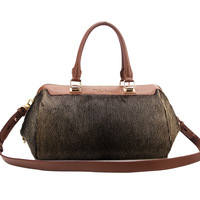 Genuine leather cowhide quality fashion elegant one shoulder handbag seals wool women's handbag va2884-01