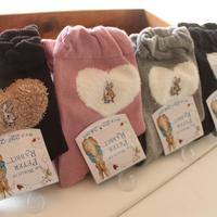 Autumn and winter cartoon embroidery thermal 100% cotton jacquard plush heart shaped short socks female socks cotton socks