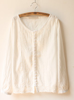 Accordion cutout laciness o-neck long-sleeve 100% cotton cloth button white loose shirt