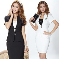 New arrival 2014 Hot Sale summer office lady women OL uniform career dress set ( coat + skirt ) fashion business set for work