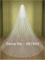 Aesthetic bride wedding veil 3 meters long double layer rhinestones veil wave soft screen comb veil for t3 9