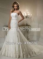 New Elegant White/Ivory sweetheart lace  Bridal Dress Wedding Dress Gown Custom Size Free Shipping
