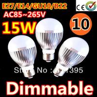 Free shipping 10pcs/lot Retail Dimmable Bubble Ball Bulb AC85-265V 9W/12W/15W E14 E27 B22 GU10 High power Globe light LED Light