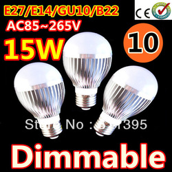 Free shipping 10pcs/lot Retail Dimmable Bubble Ball Bulb AC85-265V 9W/12W/15W E14 E27 B22 GU10 High power Globe light LED Light(China (Mainland))
