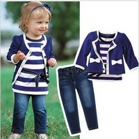 Wholesale! Hot sale Retail baby girl sets three-piece girls clothes set infant tee shirt+coat+jeans kids clothes Set