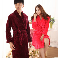 Autumn and winter lovers sleepwear robe bathrobes male women's thickening coral fleece flannel plus size lounge