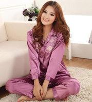 Summer 2013 women's faux silk long-sleeve plus size sleepwear summer women's summer silk twinset
