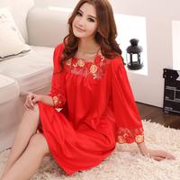 Women's plus size plus size faux silk sleepwear women's silk nightgown plus size summer lounge