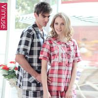 Lovers short-sleeve sleepwear summer short sleeve length pants fashion plaid lovers sleep set