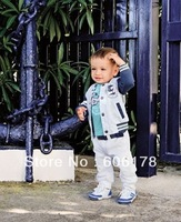 hot selling NEW STYLE Boy&#39;s Suit Coat + Longsleeve T-Shirt + Pant Baby Suit for kids 80-120cm