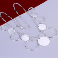 N015 Promotion! wholesale 925 silver necklace, 925 silver fashion jewelry Chain Round Plate Necklace