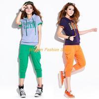 2013 New arrival Fashion Women summer casual suit, cotton shirt t-shirt Capri Pants women's sportswear sports set ,Free shipping