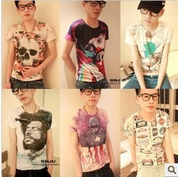 Super Cool !2013Hot Sale! Size M-XL,Unique Fashion Men's Short Sleeve Cotton T-Shirt, Printed 3D O-Neck Mens t shirt, Freeship(China (Mainland))