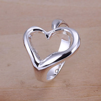 R009 Wholesale 925 silver ring, 925 silver fashion jewelry, Opend Heart Ring