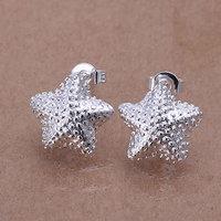 E032 Wholesale 925 silver earrings, 925 silver fashion jewelry, Polished Star Earrings