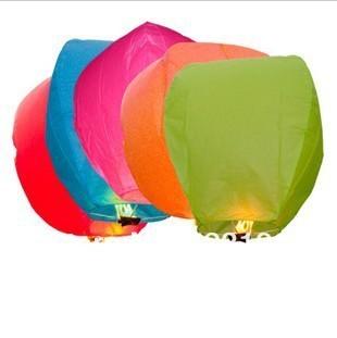free shipping Chineses Kongming Lantern Flying Sky Lantern Wishing Lamp (100pcs/Pack/Assorted Color)