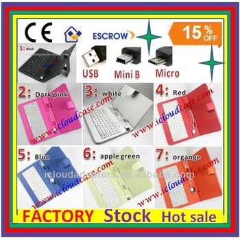 """7"""" inch Tablet usb/mini/micro Keyboard Case/Cover + leather Case For Tablet Colorful For Ipad Keyboard case With Keyboard"""