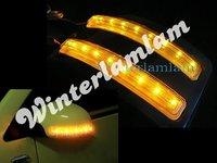 2 x Yellow Car 8 LED Soft Turn Signal Light Door Mirror FG37 165mm