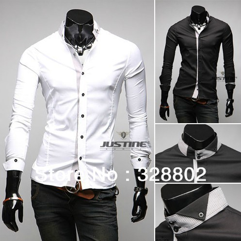 2013 Free shipping the fashion leisure men's shirts items luxury brand polo homme men shirts white dress shirts for men(China (Mainland))