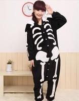 2013 New Fashion S M L XL Adult Human Skeleton Sleepwear Cosplay Costumes Coral Fleece Animal  Pyjamas
