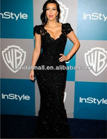 Kim Kardashian Black Beaded Lace Evening Gown Celebrity Dress custom made Golden Globes Party XF94