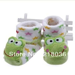 10 Pair Cartoon Frog Baby Anti-slip Warm White Socks Slipper Soft Knit Shoe Boots 7-9 mm M771(China (Mainland))