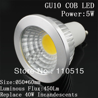 Free shipping By  DHL 50Pcs/Lot High Lumen 450Lm no  Dimmable COB 5W GU10 LED,90Degree, 2 years warranty