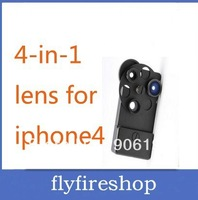 30pcs free shipping New Fashion Mental Materials 4 IN 1 Lens For Iphone 4 wide Angle+Macro+2X Zoom+Fisheye