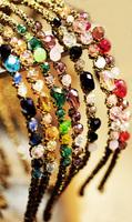 5PCS/LOT Korean Style Hairbands Super Flash Colorful Irregular Crystal Gold Cord Wrapped  Headband J003