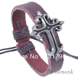Top quality QNW1028 flower pattern cross chian bracelets brown metal genuine leather wax alloy woven bracelets adjustalbe freely(China (Mainland))