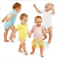 Free shipping high quality hot sell baby Romper 100% cotton solid color short sleeve bodysuit  12pcs/lot