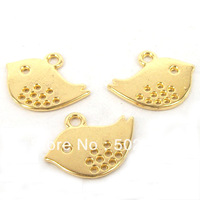 Free Shipping wholesale 70PCS Gold Tone Alloy Birds Charm Pendants Jewelry Finding 13x16mm TS9835