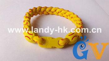 Tri Braid Titanium Ionic Softball Bracelet, Nylon Fabric Shell Yellow Cord with Red Stitching, 100pcs/lot, Free shipping