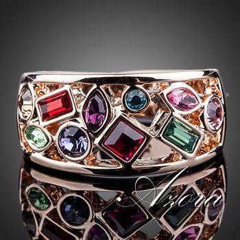 Азора 18 К роуз позолоченные многоцветный Stellux австрийский хрусталь кольцо TR0097