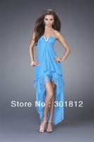 Asymmetrical Sky Blue Strapless Empire Chiffon Satin Evening Dress (PD-210)