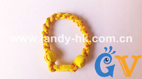Healhy Twist Softball Bracelet, Titanium Germanium Ionic Yellow Softball Cord w Red Stitching, 50pcs/lot, Free Shipping