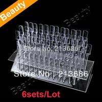 6sets/Lot Pop Sticks Nail Art Display Stand Practice Tool UV Gel Acrylic Tips Rack + Display Plate  5787
