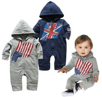 PPY-24,free shipping! 2013 Hot sell baby rompers Flag design boy jump suit spring infant garment Wholesale And Retail