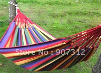 Canvas 195 X 80cm Single hammock tourism camping hunting Leisure Fabric Stripes