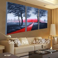 Free Shipping 40*60cmx3p(16*24inchx3p) ,Handmade Tree Road Oil Paintings ,Best Quality yttht084
