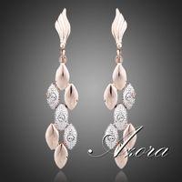AZORA Latest Design 18K Rose Gold Plated Two Tone Wheat Ears with Rhinestones Feast Tassels Earrings TE0071