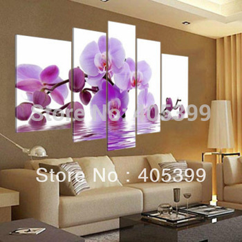Real Hand Painted Modern Flower  Oil Paintings, The Orchid  Set of Five ,Group Oil Painting Love Art JYJHS003